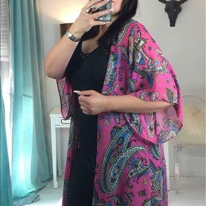 Pink Kimono Bold Print Jewel Tone Pink Long Kimono